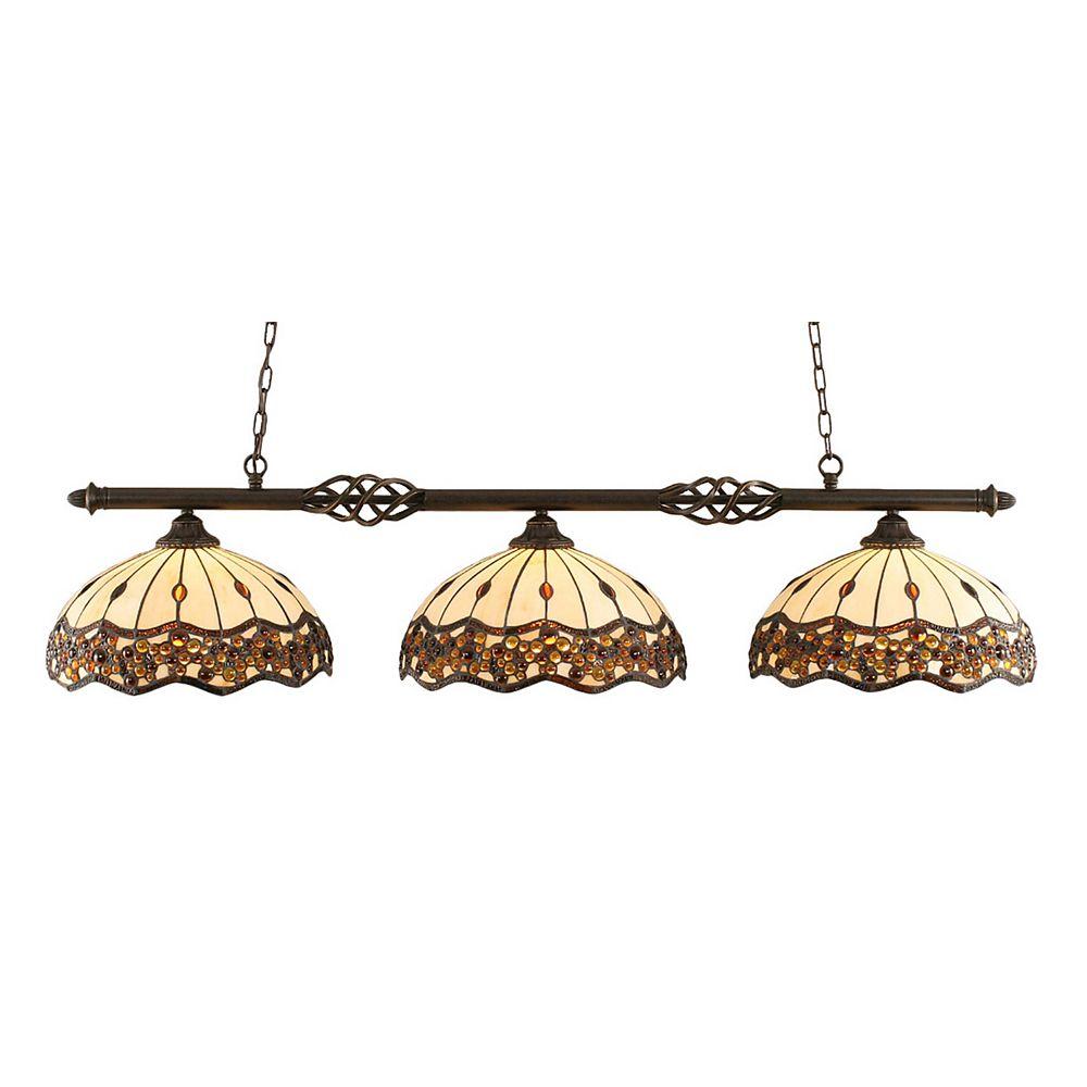 Filament Design Concord 3-Light Ceiling Dark Granite Billiard Bar with a Roman Jewel Tiffany Glass