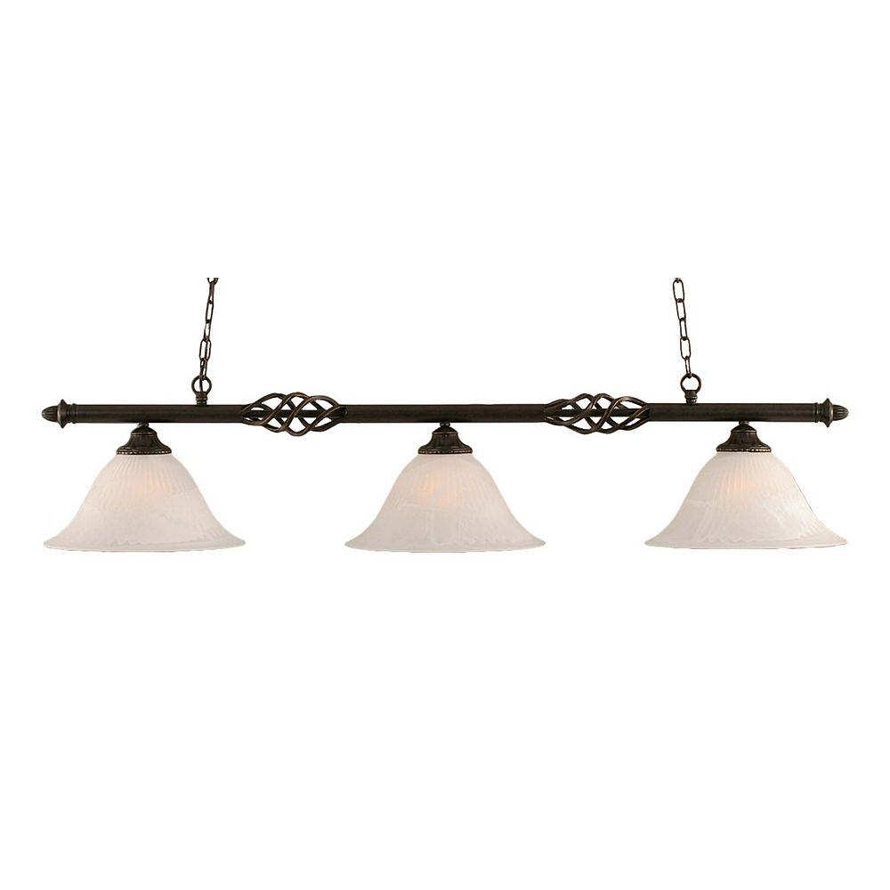 Filament Design Concord 3-Light Ceiling Dark Granite Billiard Bar with an Alabaster Glass