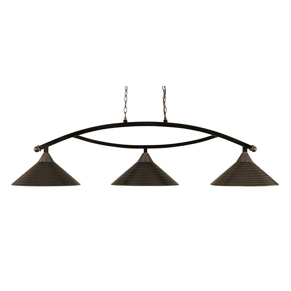 Filament Design Concord 3 Light Ceiling Black Copper Incandescent Billiard Bar with a Charcoal Spiral Glass