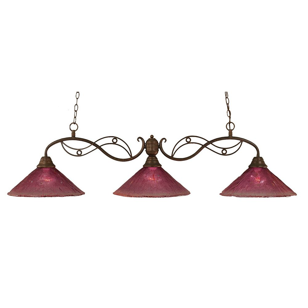 Filament Design Concord 3-Light Ceiling Bronze Billiard Bar with a Wine Crystal Glass