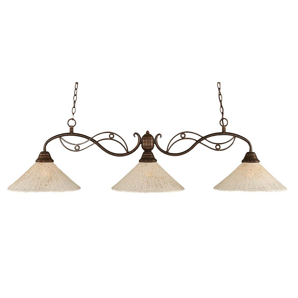 Filament Design Concord 3-Light Ceiling Bronze Billiard Bar with a Gold Crystal Glass