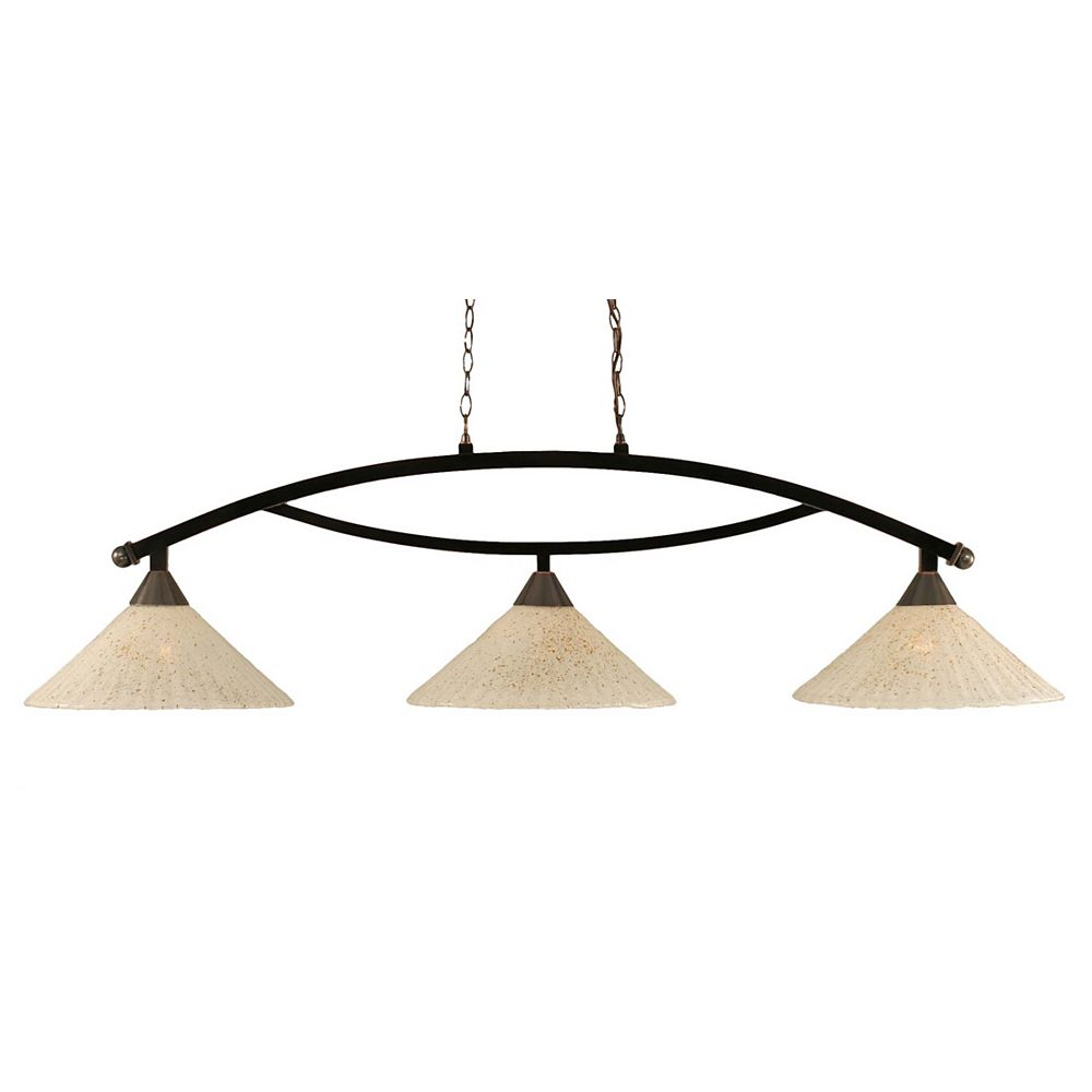 Filament Design Concord 3 Light Ceiling Black Copper Incandescent Billiard Bar with a Gold Crystal Glass