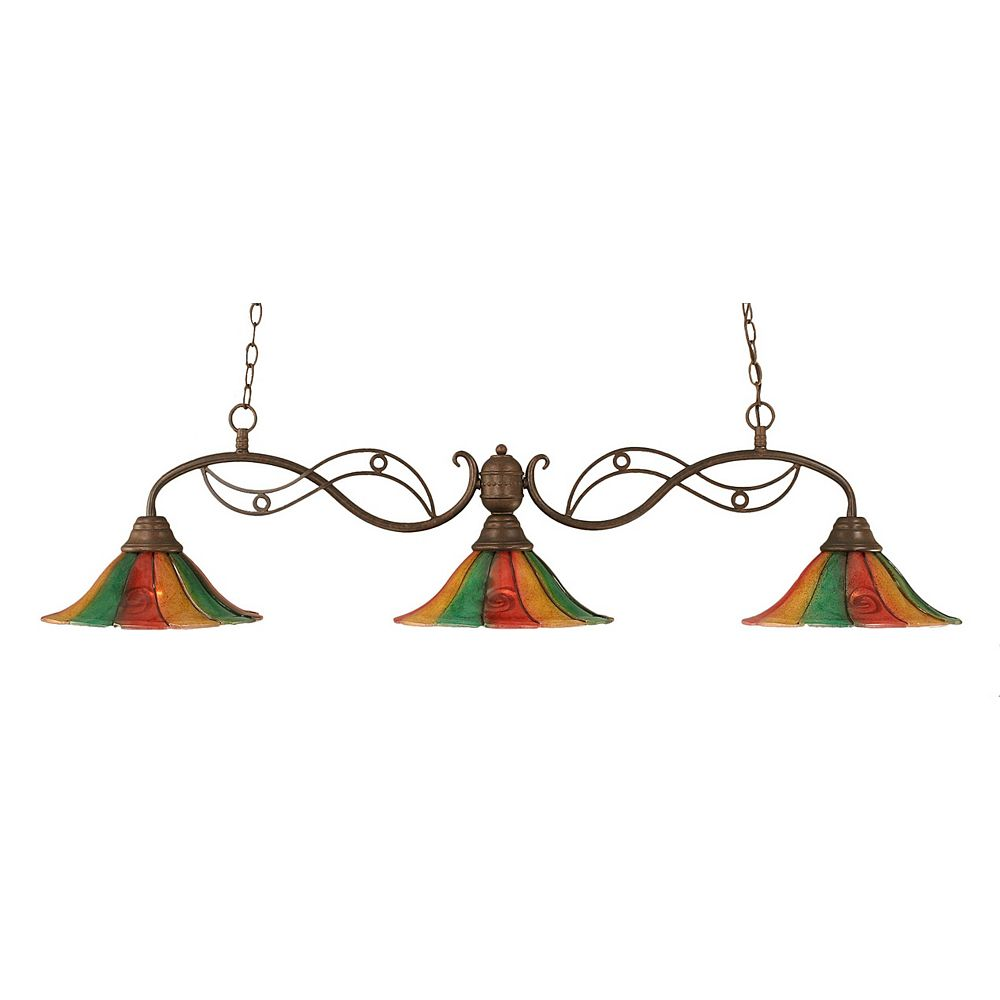 Filament Design Concord 3-Light Ceiling Bronze Billiard Bar with a Mardi Gras Glass