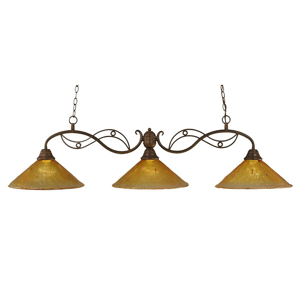 Filament Design Concord 3-Light Ceiling Bronze Billiard Bar with a Gold Champagne Crystal Glass