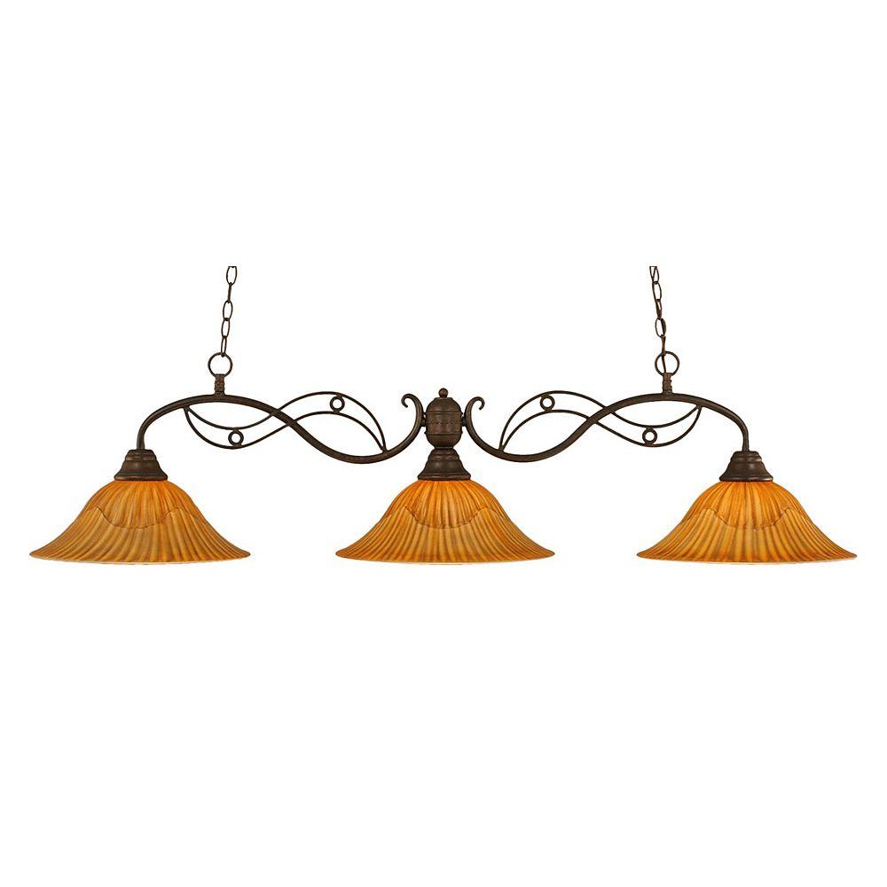 Filament Design 3-Light Ceiling Bronze Billiard Bar with a Tiger Glass