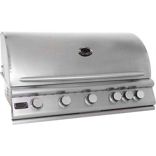 Barbecue encastrable au gaz naturel et à convection à cinq brûleurs Premium de Broil Chef avec brûleur arrière infrarouge