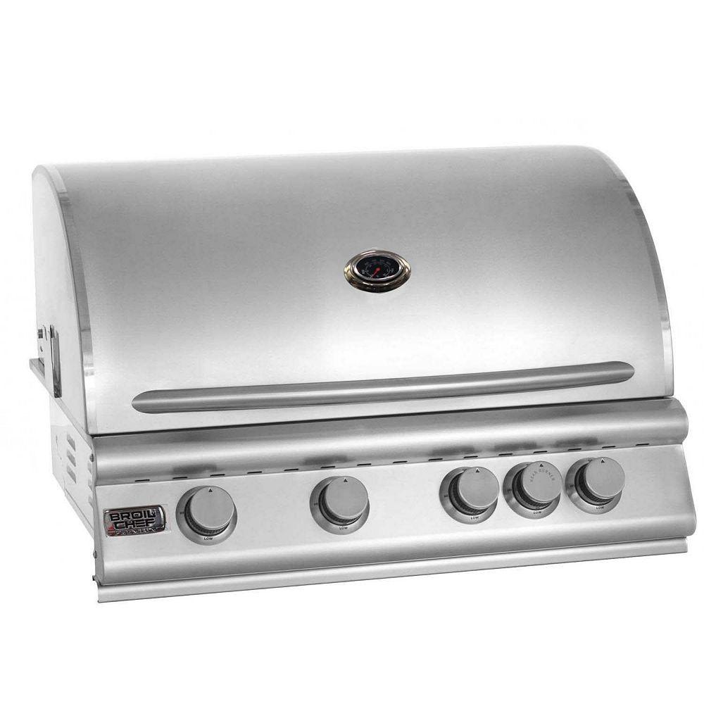 Broilchef Premium Barbecue encastrable au gaz naturel et à convection à quatre brûleurs Premium de Broil Chef avec brûleur arrière infrarouge