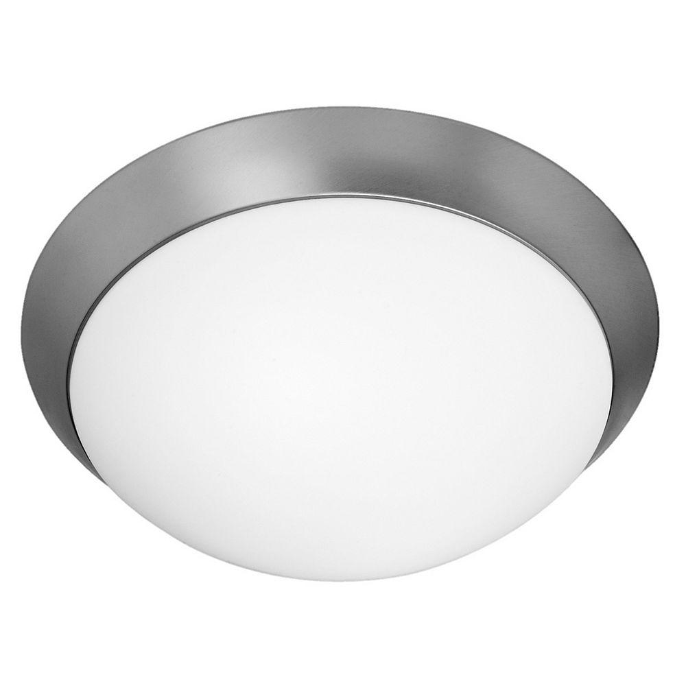 Filament Design Vista 2 Light Brushed Steel CFL Flush Mount with Opal Glass