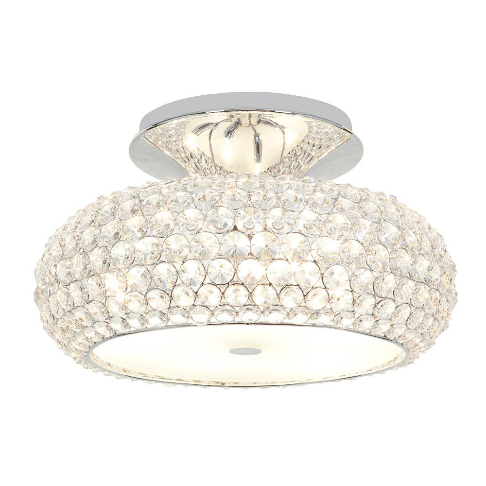 Filament Design Plafonnier avec abat-jour clair couleur en argent