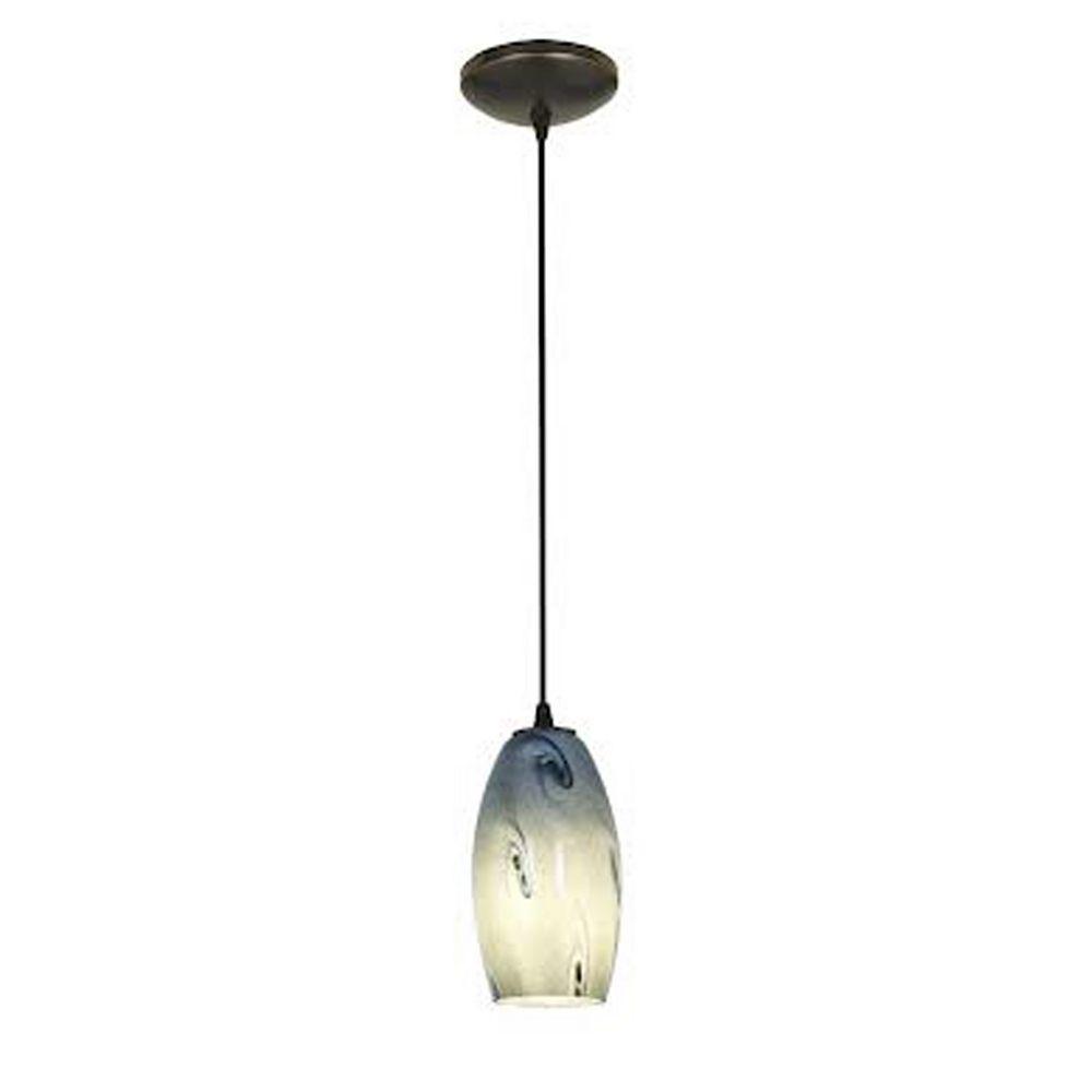 Filament Design Vista 1 Light Oil Rubbed Bronze Incandescent Pendant with Blue Sky Glass