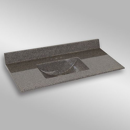 Wave 49-Inch W x 22-Inch D Granite Centre Basin Vanity Top in Carioca Stone