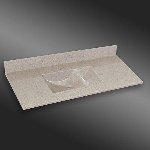 Wave 49-Inch W x 22-Inch D Granite Centre Basin Vanity Top in Irish Cream