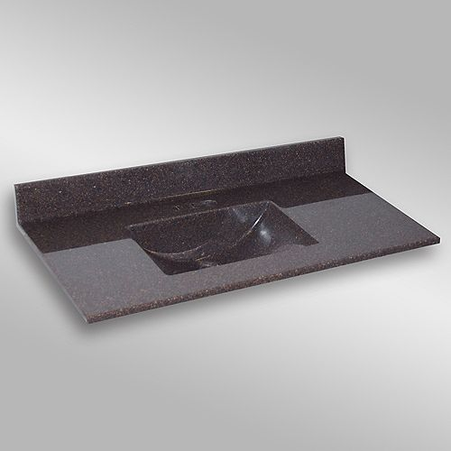 Wave 49-Inch W x 22-Inch D Granite Centre Basin Vanity Top in Espresso