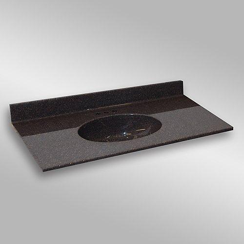 Malibu 49-Inch W x 22-Inch D Granite Centre Basin Vanity Top in Espresso