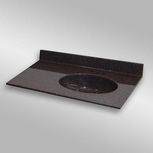 Malibu 37-Inch W x 22-Inch D Granite Right-Hand Basin Vanity Top in Espresso