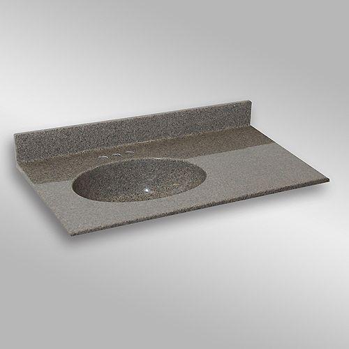 Malibu 37-Inch W x 22-Inch D Granite Left-Hand Basin Vanity Top in Carioca Stone