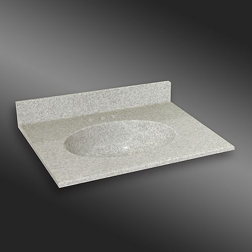 Malibu 31-Inch W x 22-Inch D Granite Centre Basin Vanity Top in Willow Mist