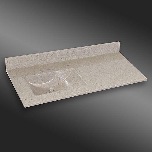 Wave 49-Inch W x 22-Inch D Granite Left-Hand Basin Vanity Top in Irish Cream