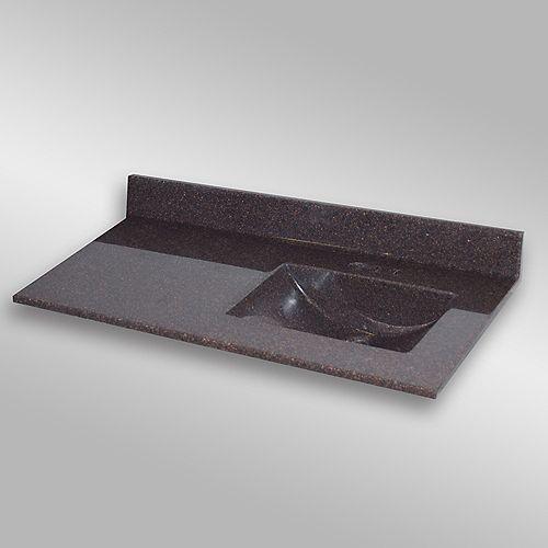 Wave 49-Inch W x 22-Inch D Granite Right-Hand Basin Vanity Top in Espresso