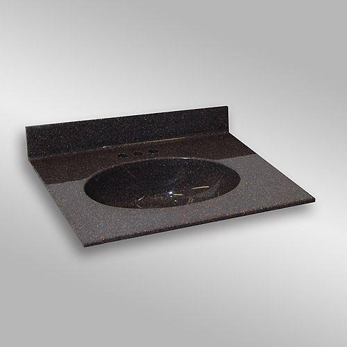 Malibu 31-Inch W x 22-Inch D Granite Centre Basin Vanity Top in Espresso