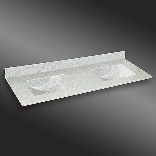 Wave 61-Inch W x 22-Inch D Granite Double Basin Vanity Top in Willow Mist