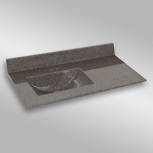 Wave 37-Inch W x 22-Inch D Granite Left-Hand Basin Vanity Top in Carioca Stone