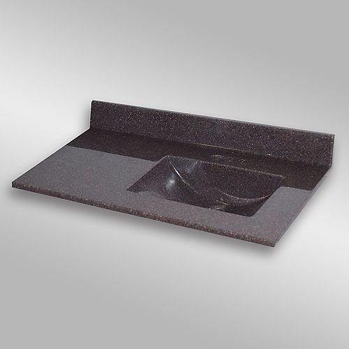 Wave 37-Inch W x 22-Inch D Granite Right-Hand Basin Vanity Top in Espresso