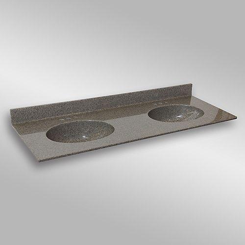Malibu 61-Inch W x 22-Inch D Granite Double Basin Vanity Top in Carioca Stone