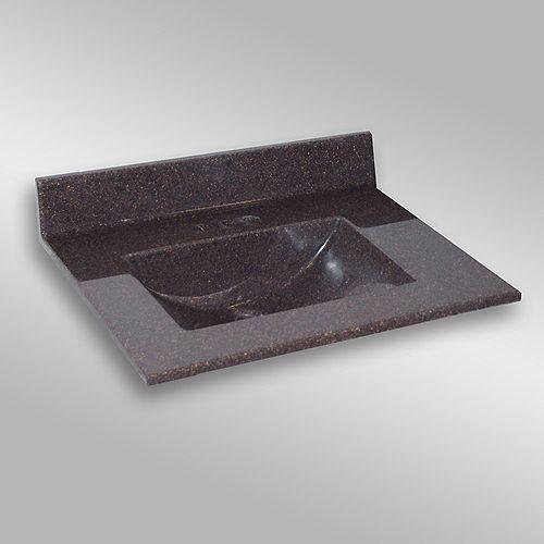 Wave 31-Inch W x 22-Inch D Granite Centre Basin Vanity Top in Espresso