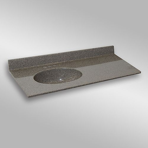 Malibu 49-Inch W x 22-Inch D Granite Left-Hand Basin Vanity Top in Carioca Stone