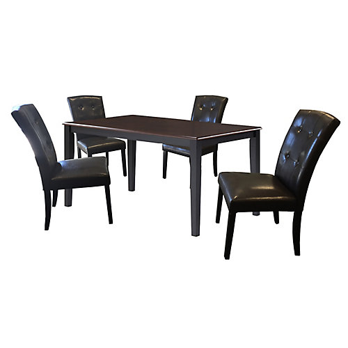 35.5-inch x 59-inch Solid Wood Dining Table in Black with 4 Leather Chairs in Black