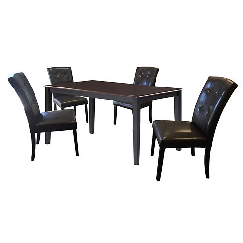 DURAWOOD 35.5-inch x 59-inch Solid Wood Dining Table in Black with 4 Leather Chairs in Black