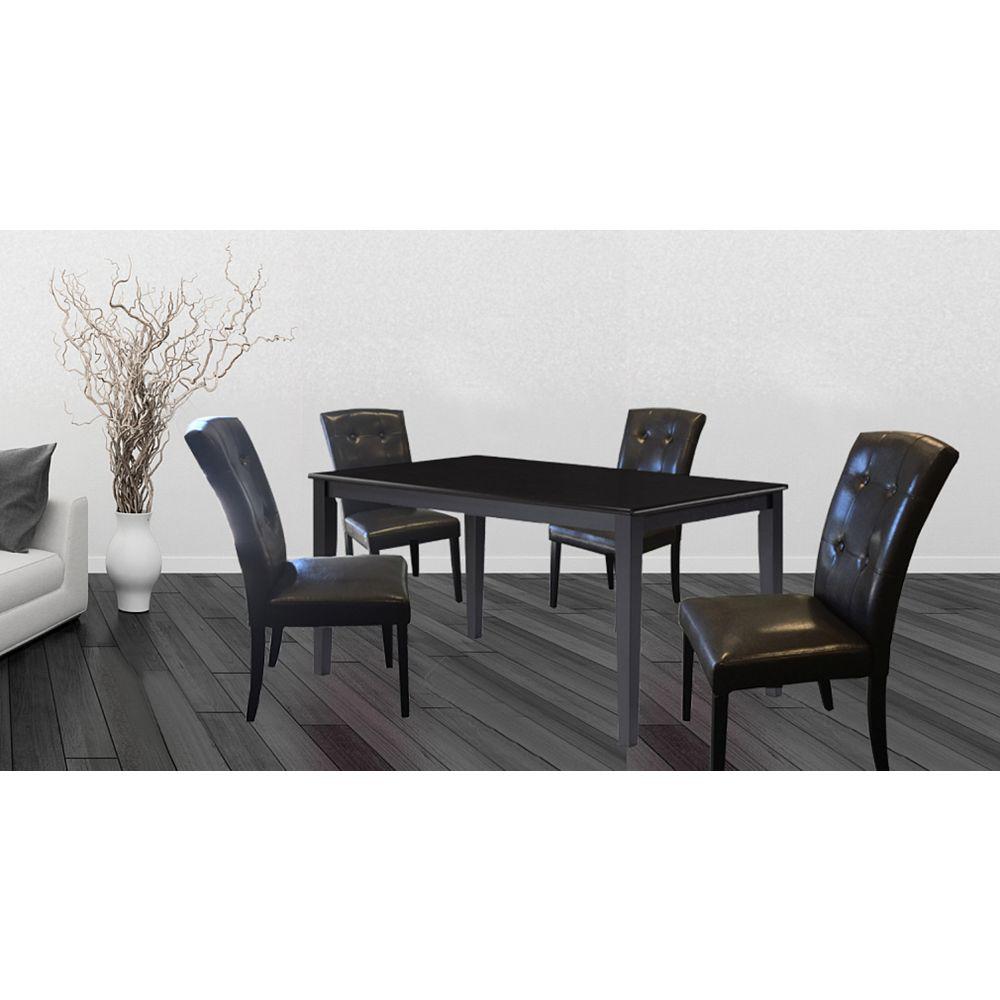 Wood Veneer Board Top Dining Table Set Set of 9