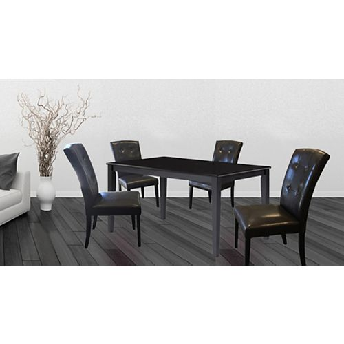 Wood Veneer Board Top Dining Table Set (Set of 5)
