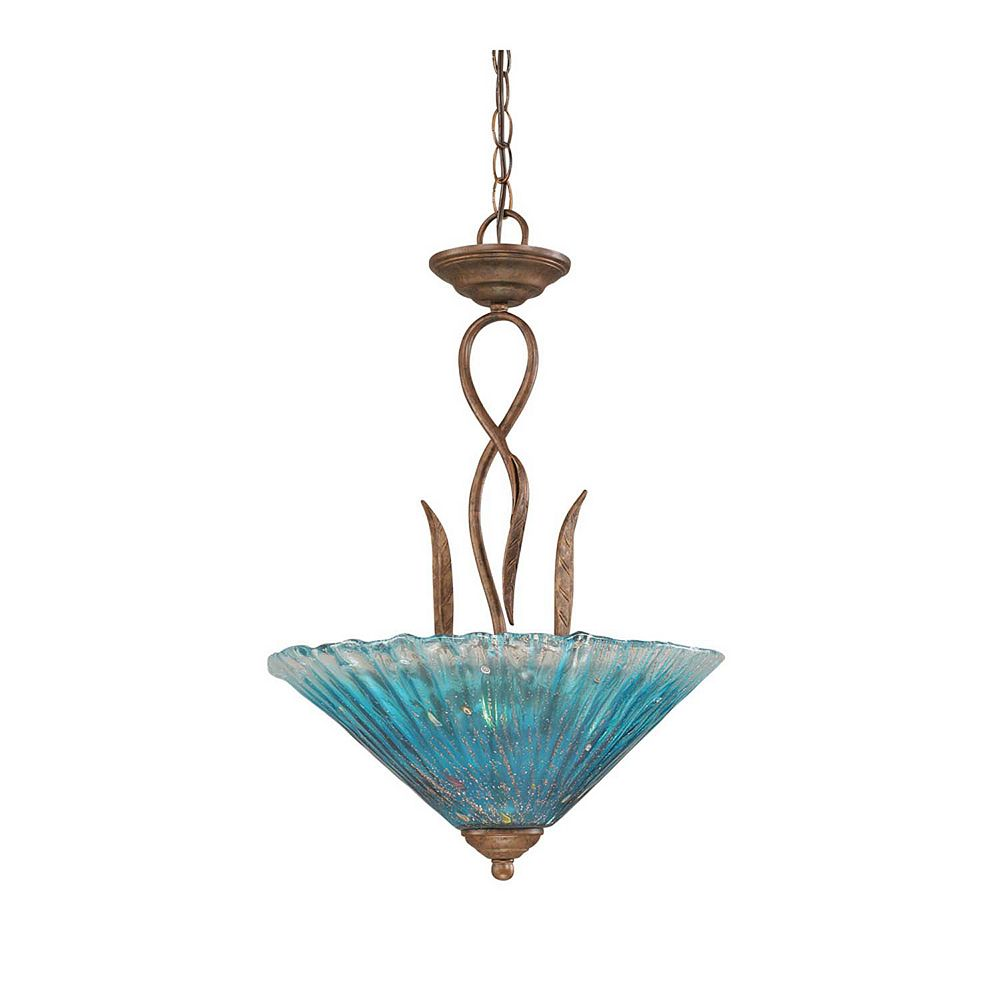 Filament Design Concord 3-Light Ceiling Bronze Pendant with a Teal Crystal Glass