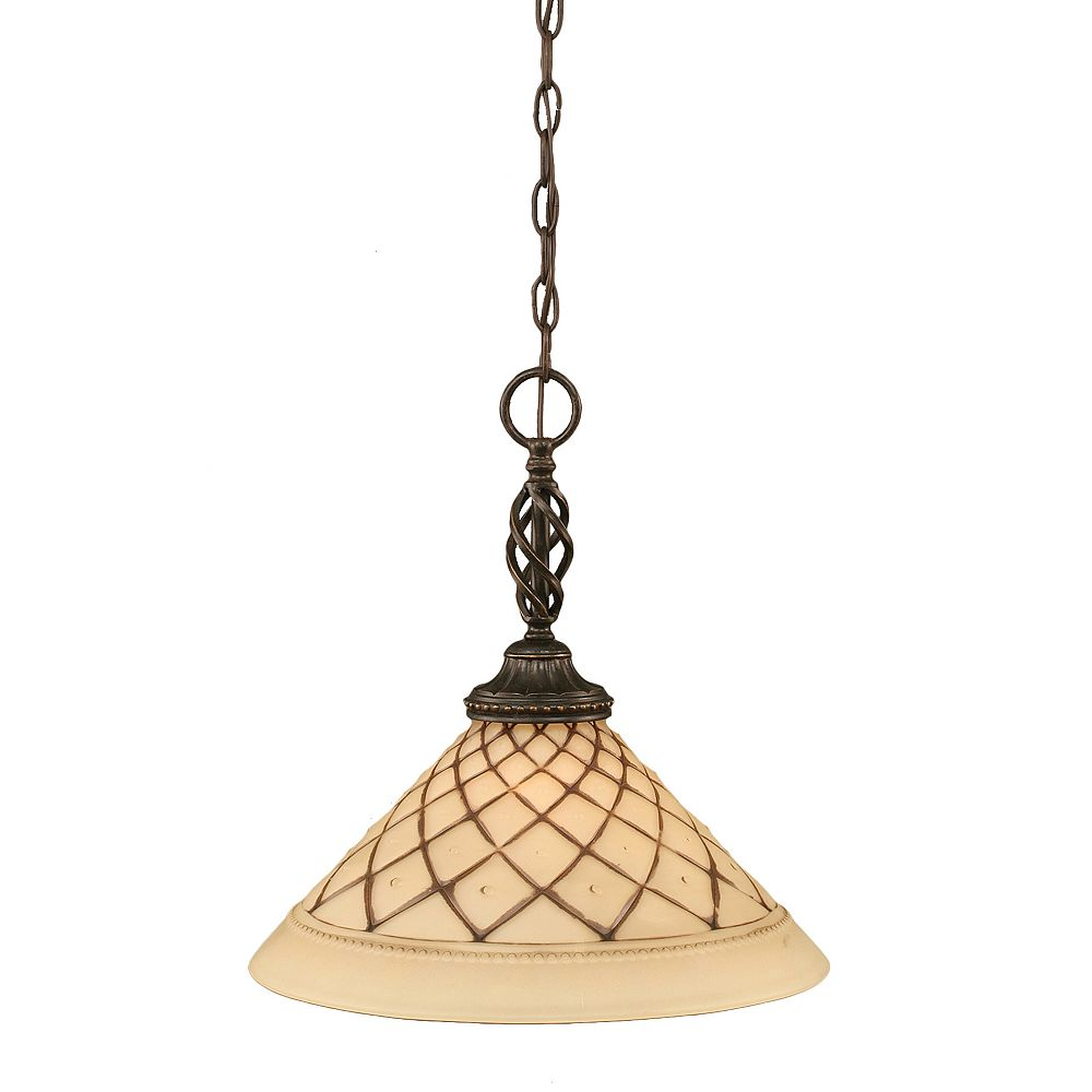 Filament Design Concord 1-Light Ceiling Dark Granite Pendant with a Chocolate Icing Glass