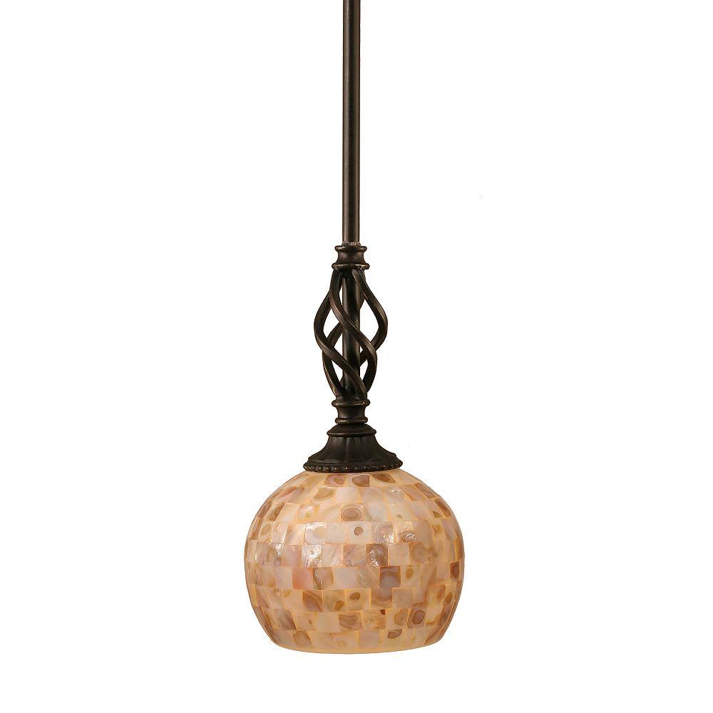 Filament Design Concord 1-Light Ceiling Dark Granite Pendant with a Seashell Glass