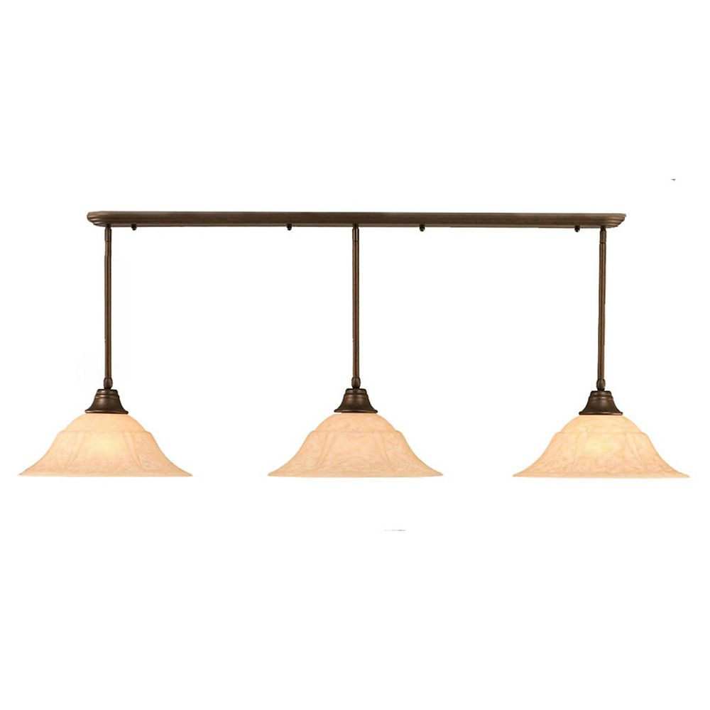 Filament Design Concord 3 Light Ceiling Bronze Incandescent Pendant with an Italian Marble Glass
