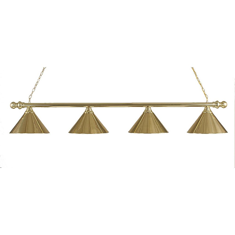 Filament Design Concord 4-Light Ceiling Polished Brass Billiard Bar with a Polished Brass Glass