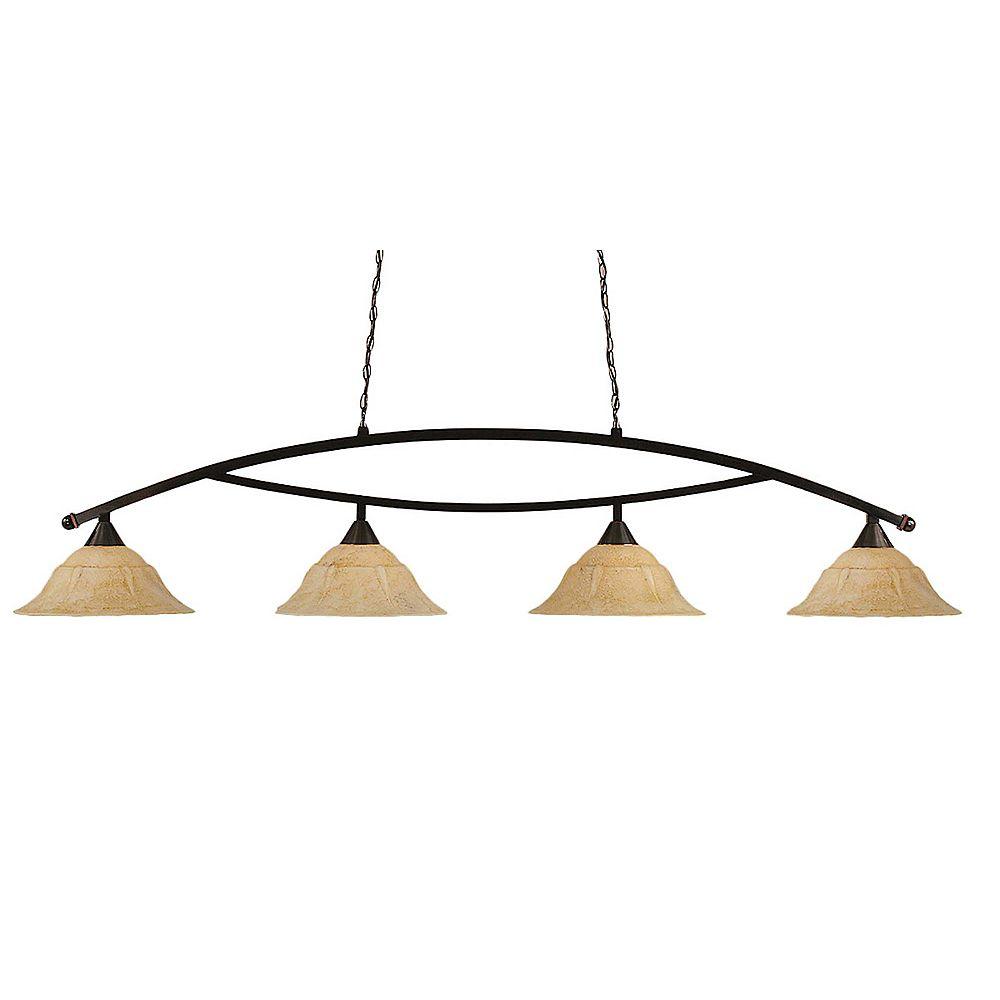 Filament Design Concord 4 Light Ceiling Black Copper Incandescent Billiard Bar with an Italian Marble Glass