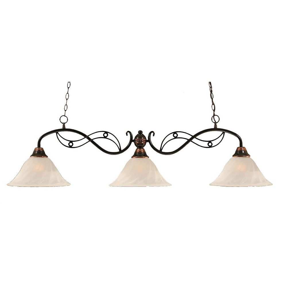 Filament Design Concord 3 Light Ceiling Black Copper Incandescent Billiard Bar with an Alabaster Glass