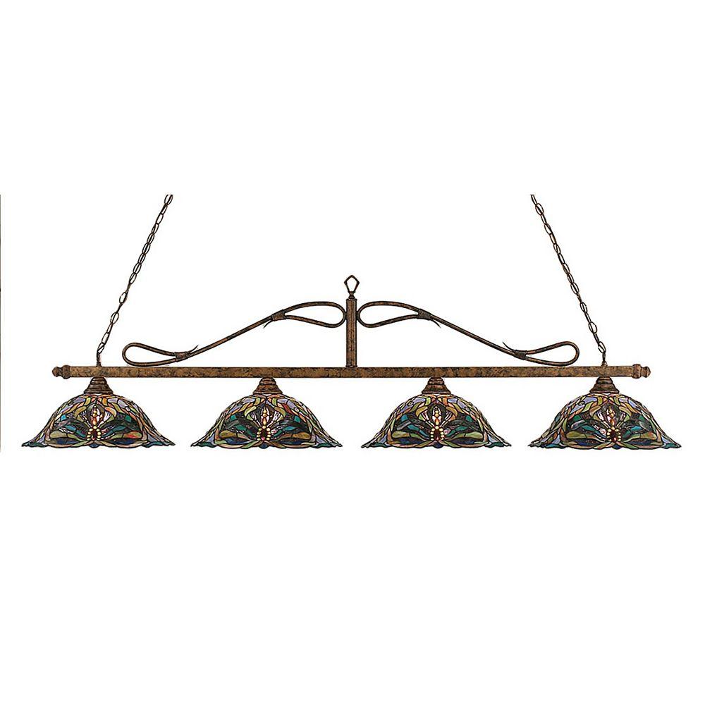 Filament Design Concord 4-Light Ceiling Bronze Billiard Bar with Kaleidoscope Tiffany Glass