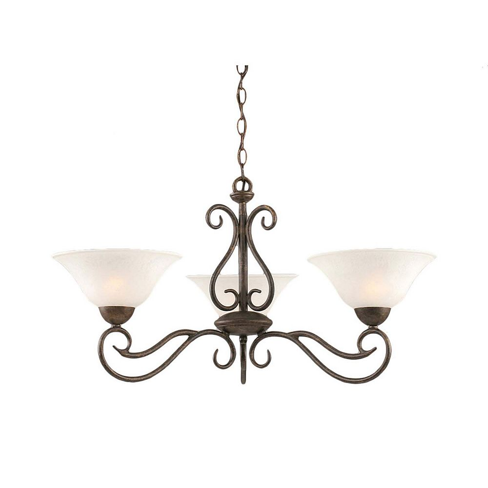 Filament Design Concord 3-Light Ceiling Bronze Chandelier with a White Marble Glass