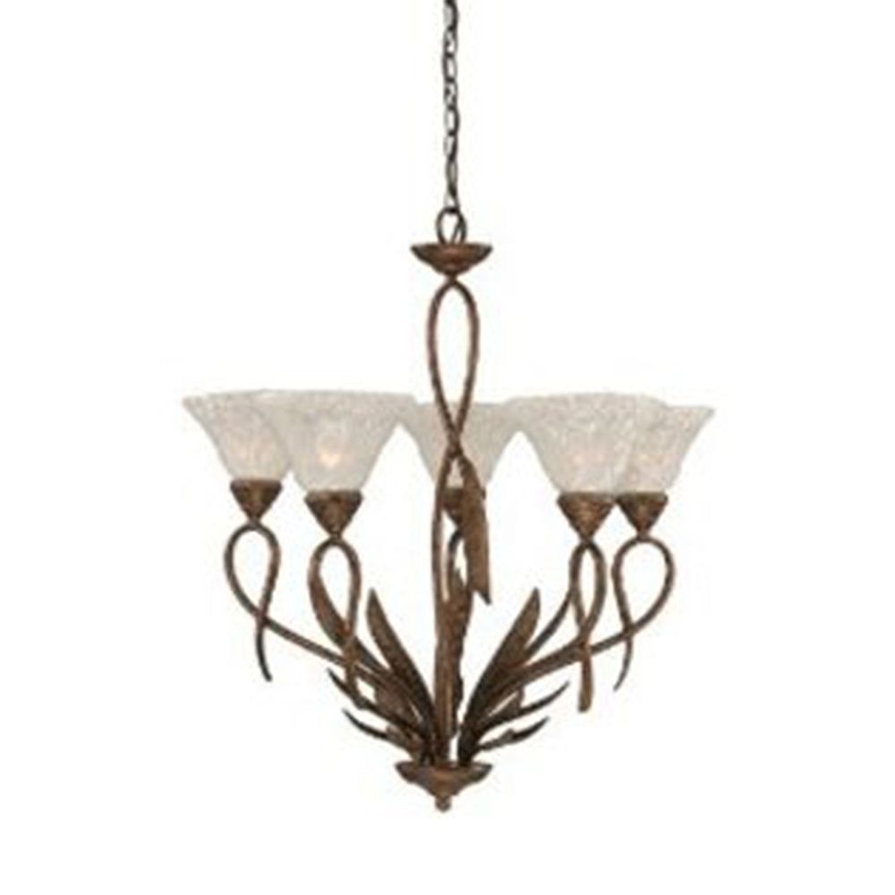 Filament Design Concord 5 Light Ceiling Bronze Incandescent Chandelier with a Clear Crystal Glass