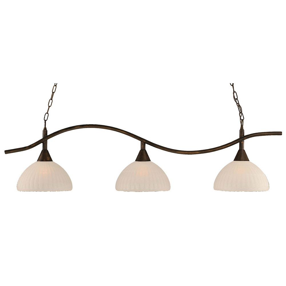 Filament Design Concord 3-Light Ceiling Bronze Billiard Bar with an Alabaster Glass