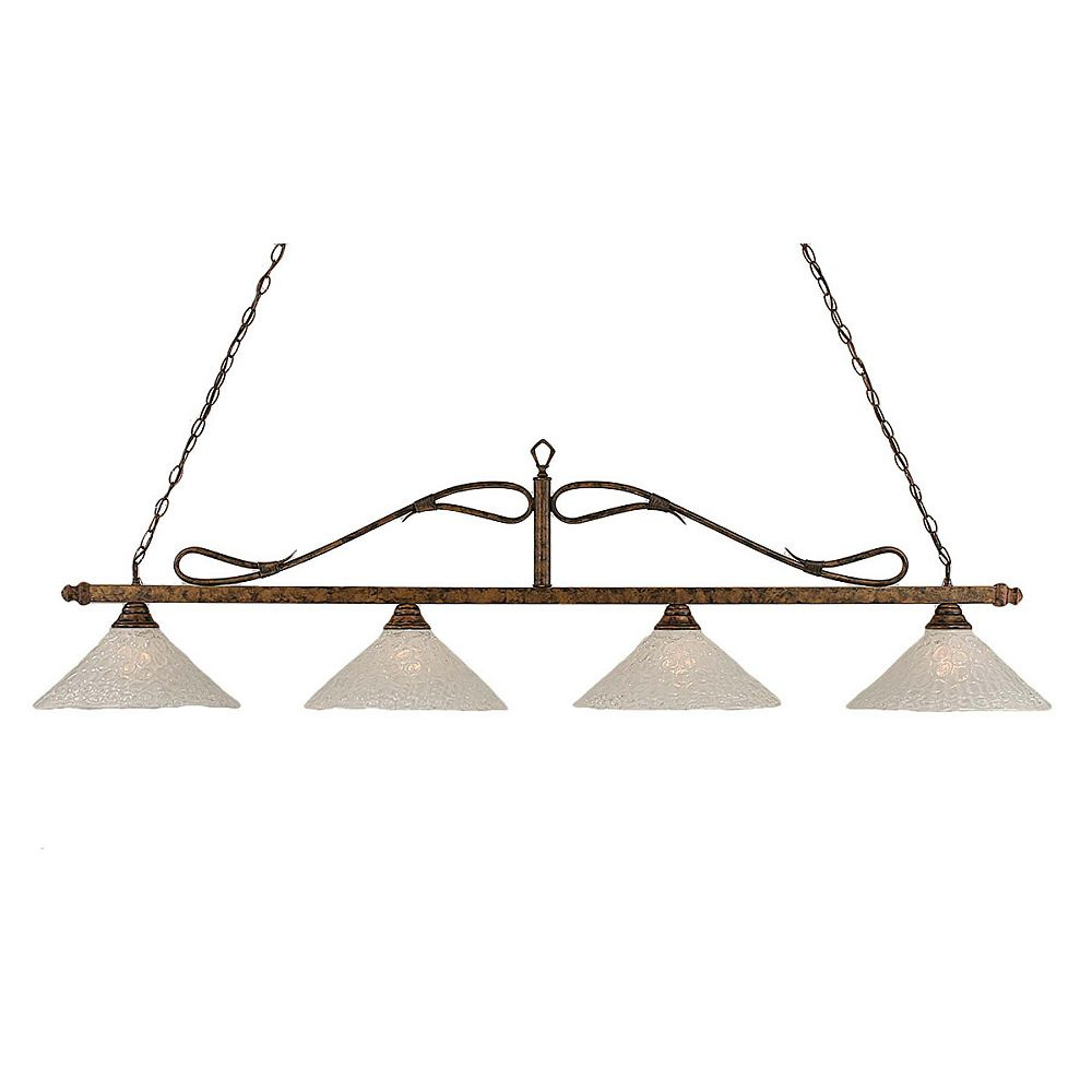 Filament Design Concord 4-Light Ceiling Bronze Billiard Bar with a Clear Crystal Glass
