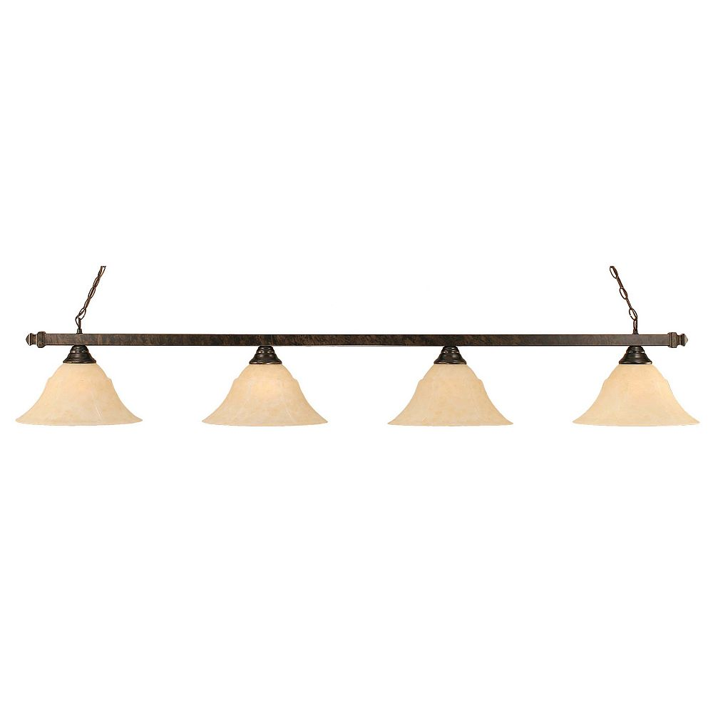 Filament Design Concord 4-Light Ceiling Bronze Billiard Bar with an Amber Glass