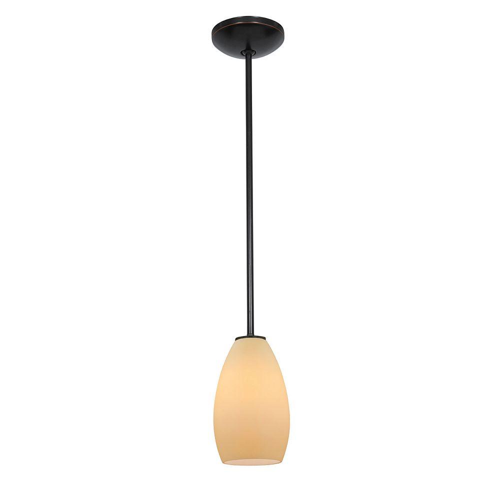 Filament Design Vista 1 Light Oil Rubbed Bronze CFL Pendant with Cream Glass