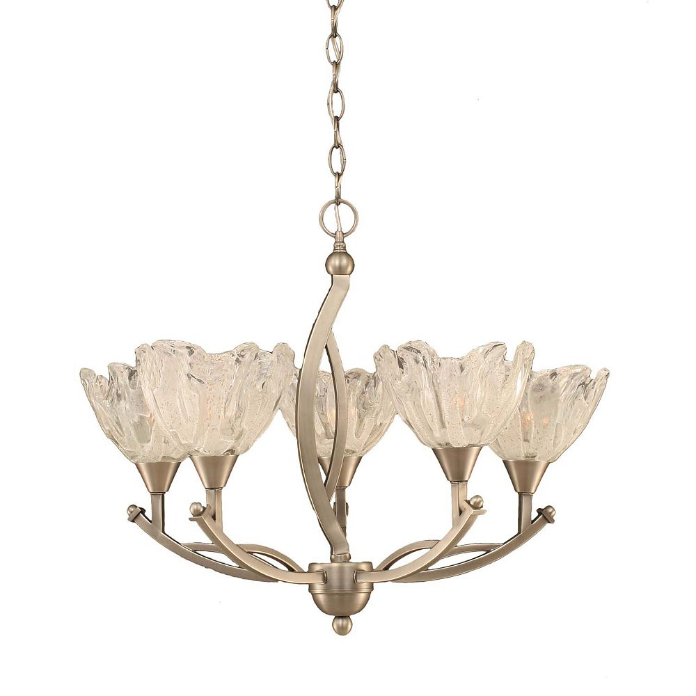 Filament Design Concord 5-Light Ceiling Brushed Nickel Chandelier with a Clear Crystal Glass