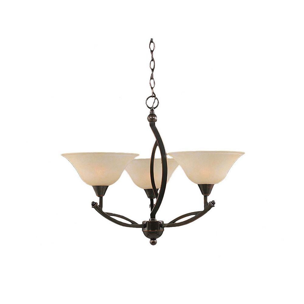 Filament Design Concord 3 Light Ceiling Black Copper Incandescent Chandelier with an Amber Glass